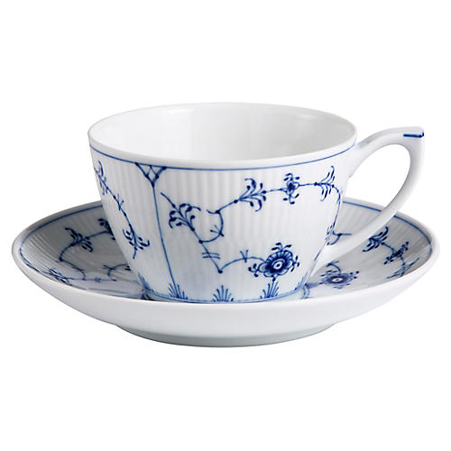 Fluted Plain Teacup & Saucer Set, White/Blue