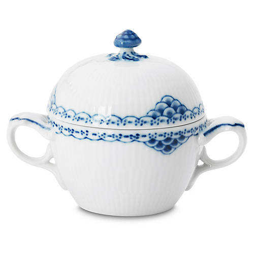 Princess Sugar Bowl, White/Blue