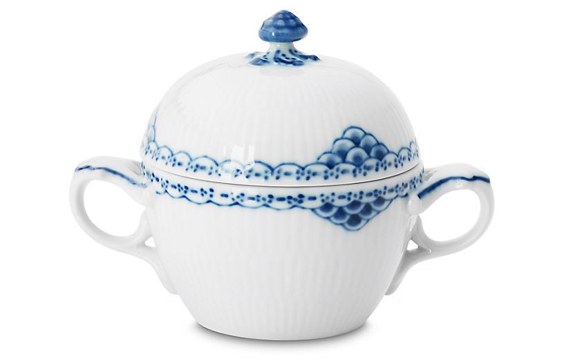 Princess Sugar Bowl, White/Blue