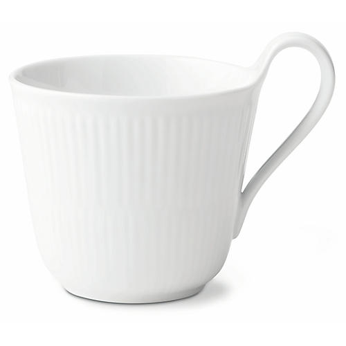 Fluted High-Handle Coffee Mug, White