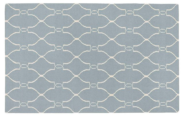 Pippa Flat-Weave Rug, Sky/Ivory