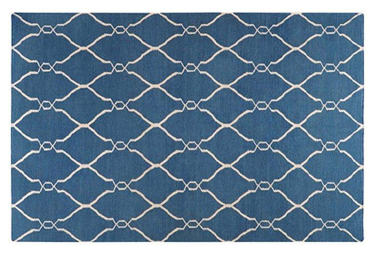 Pippa Flat-Weave Rug, Blue/Ivory