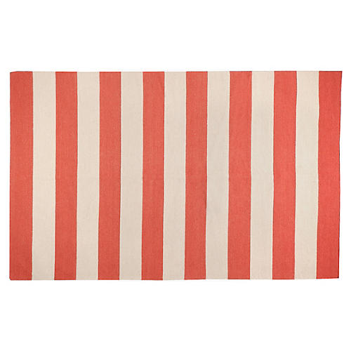 Hermes Flat-Weave Rug, Red/Beige