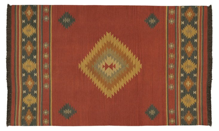 Jewel Flat-Weave Rug, Red Clay