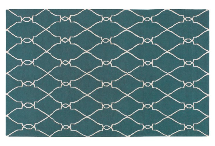 Pippa Flat-Weave Rug, Teal