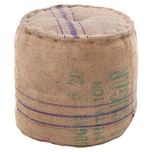 Jute Pouf, Natural/Multi
