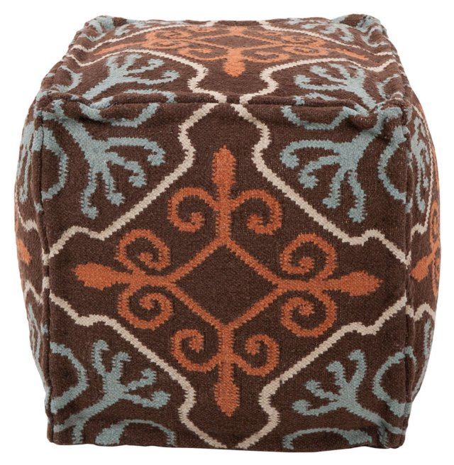 Gillett Wool Pouf, Chocolate/Multi