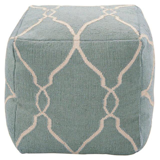 Arbor Wool Pouf, Slate Blue