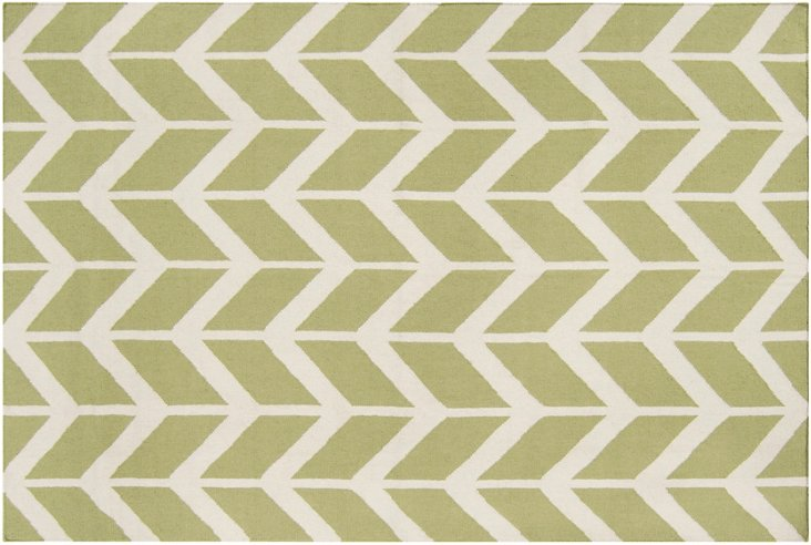 """2'6""""x8' Haven Flat-Weave Runner, Lime"""