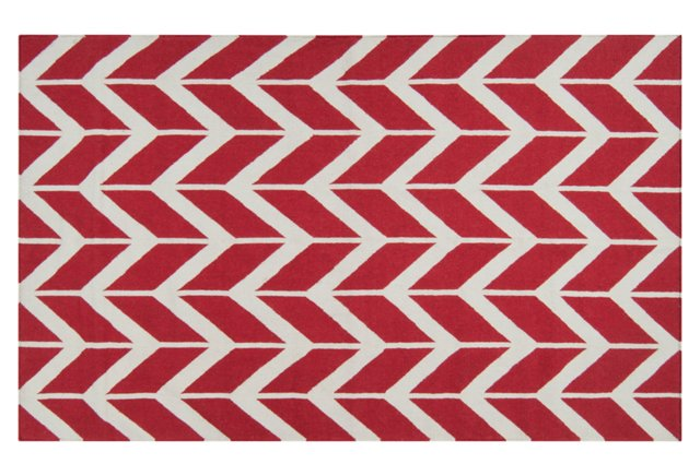 "2'6""x8' Haven Flat-Weave Runner, Red"