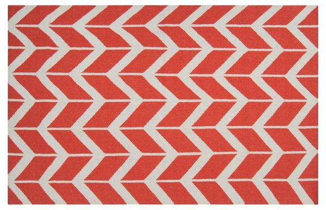 Haven Flat-Weave Rug, Poppy/White