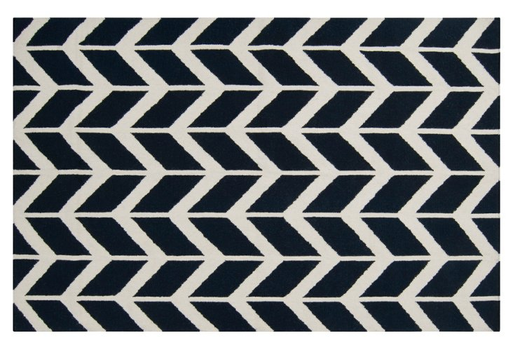 "3'6""x5'6"" Haven Flat-Weave Rug, Navy"