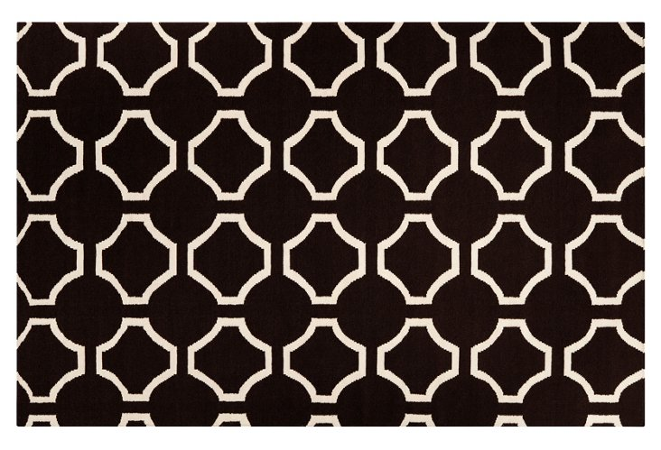 Theia Rug, Black/Parchment