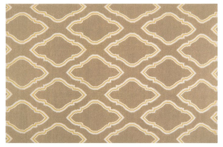 5'x8' Zeus Flat-Weave Rug, Taupe