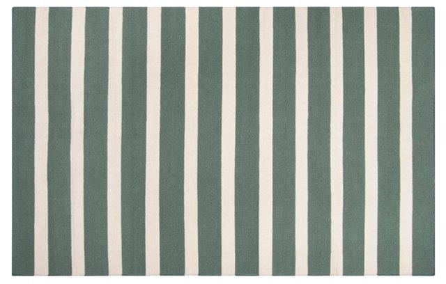 8'x11' Gaia Flat-Weave Rug, Green/Cream