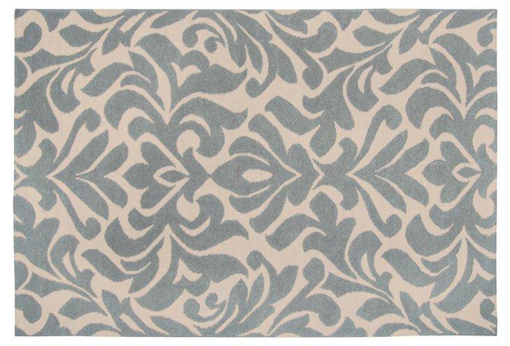 Nete Flat-Weave Rug, Slate/Ecru