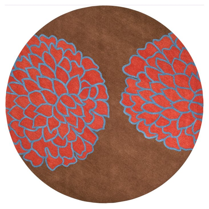 8' Round Felix Rug, Brown/Coral Red