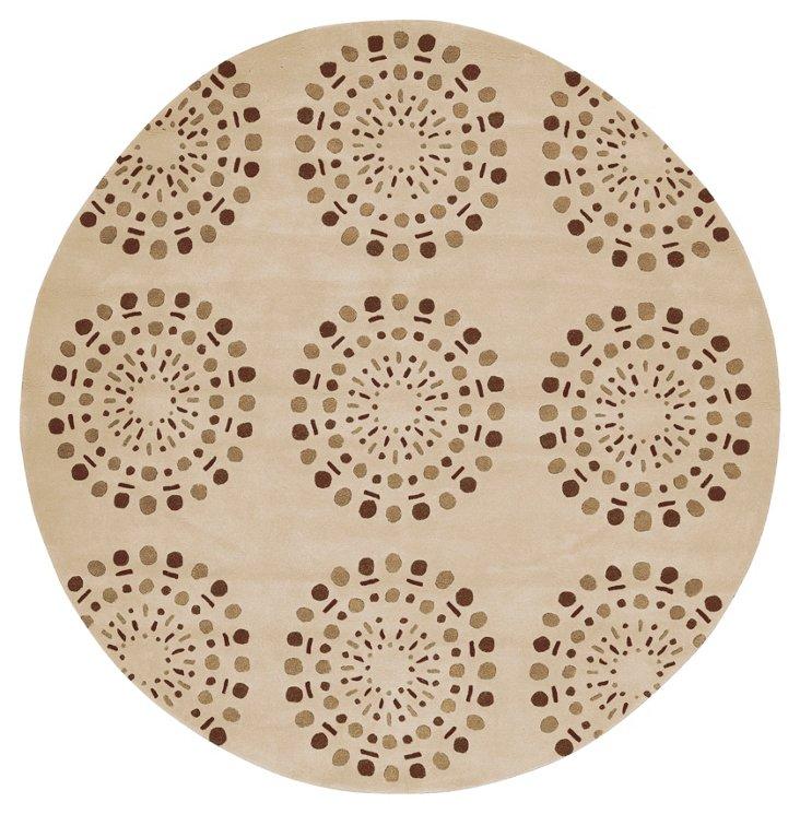 8' Round Bombay Rug, Beige/Brown