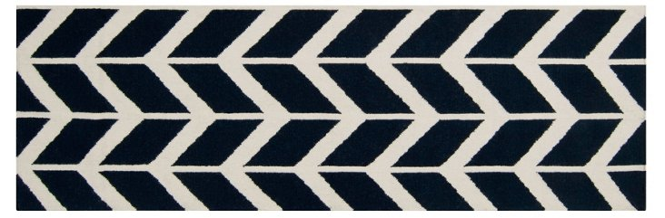 "2'6""x8' Haven Flat-Weave Runner, Navy"