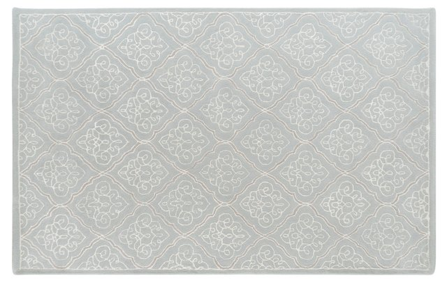 5'x8' Zeno Rug, Pale Blue/White/Gray