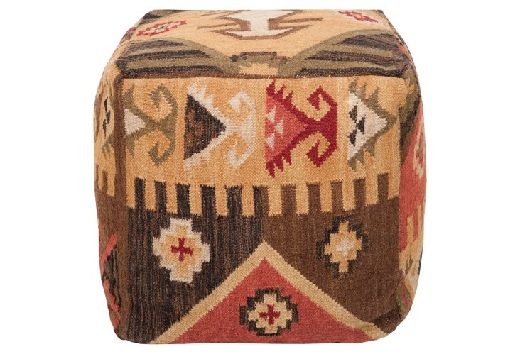 Southwest Pouf, Cream/Red