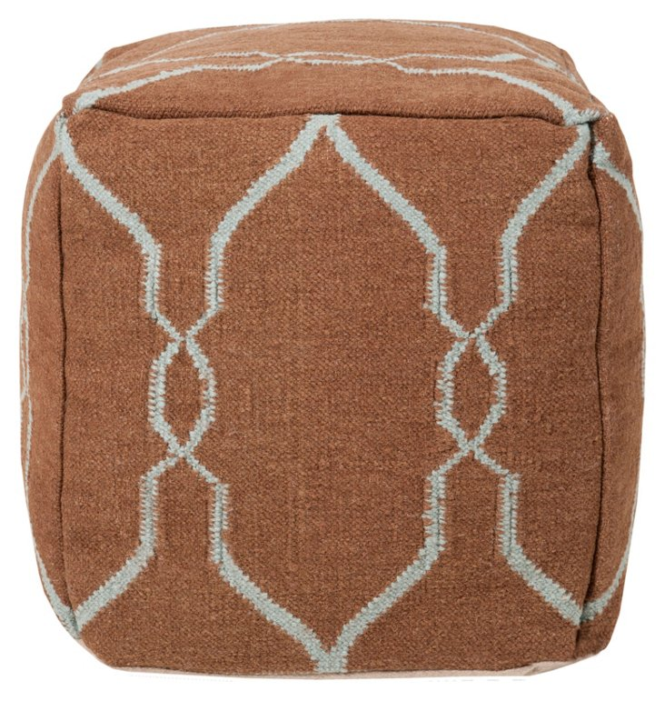 Arbor Pouf, Chocolate/Teal