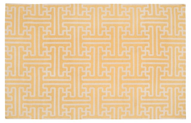 "2'6""x8' Archive Flat-Weave Runner, Gold"