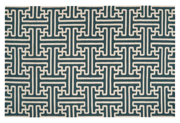2'x3' Archive Rug, Teal/Ivory