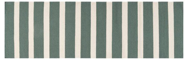 "2'6""x8' Gaia Flat-Weave Runner, Green"
