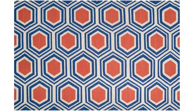 Pandora Flat-Weave Rug, Blue