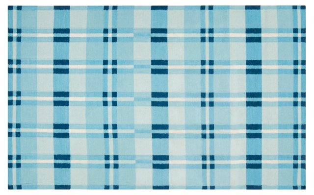Selene Flat-Weave Rug, Aqua