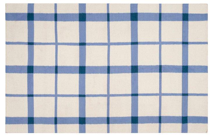Hef Flat-Weave Rug, White/Blue