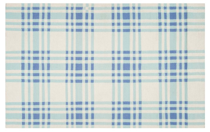 5'x8' Bria Flat-Weave Rug, Blue Haze