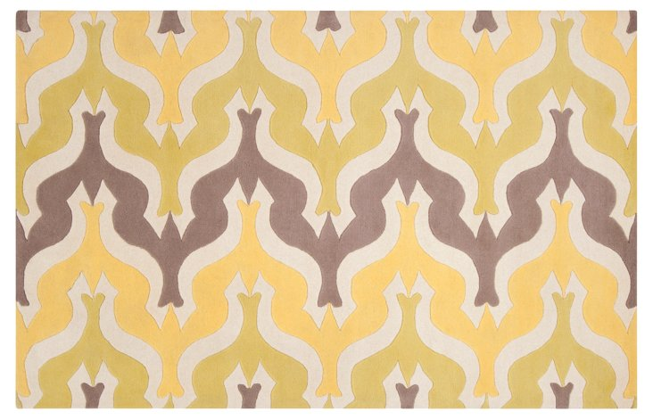 """2'6""""x8' Currents Runner, Yellow/Ivory"""