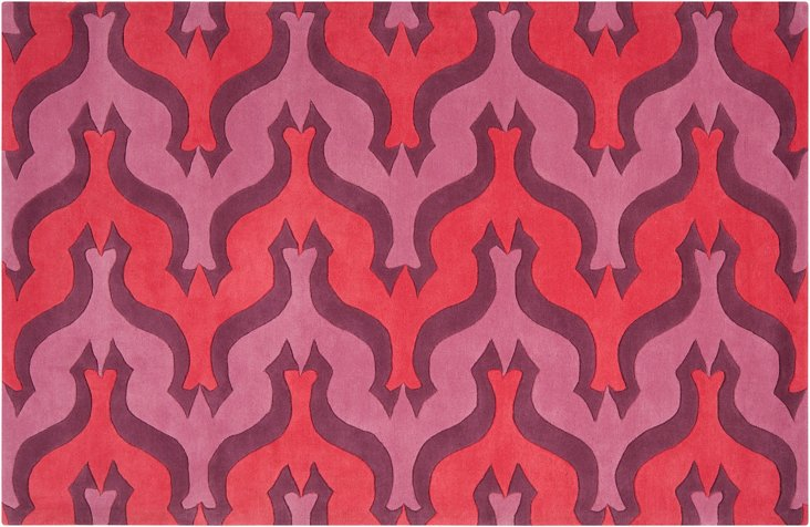 "2'6""x8' Currents Runner, Cranberry"
