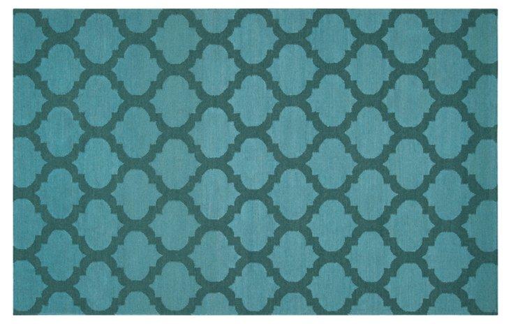 Laurel Flat-Weave Rug, Teal Green