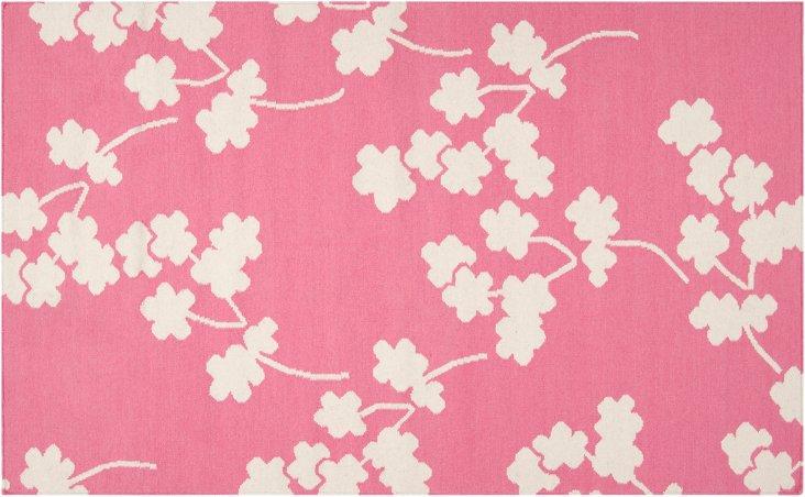 "2'6""x8' Columbia Flat-Weave Runner, Pink"