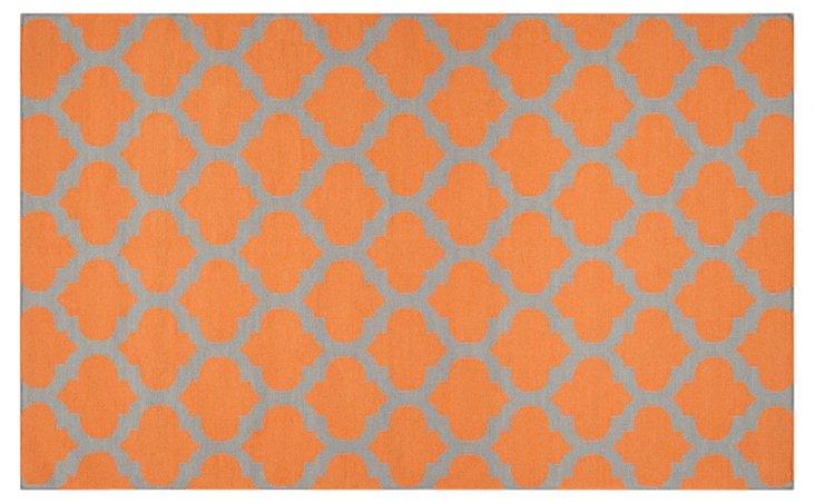 Laurel Flat-Weave Rug, Papaya