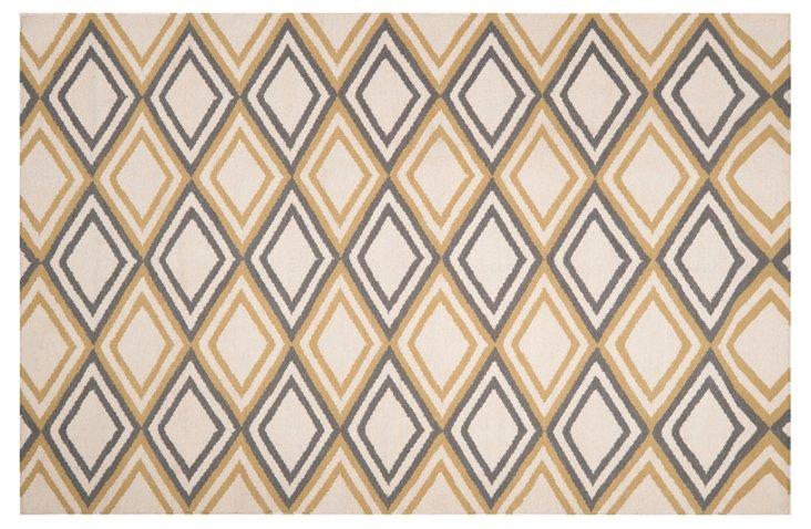 8'x11' Rhea Flat-Weave Rug, Wheat/Cream