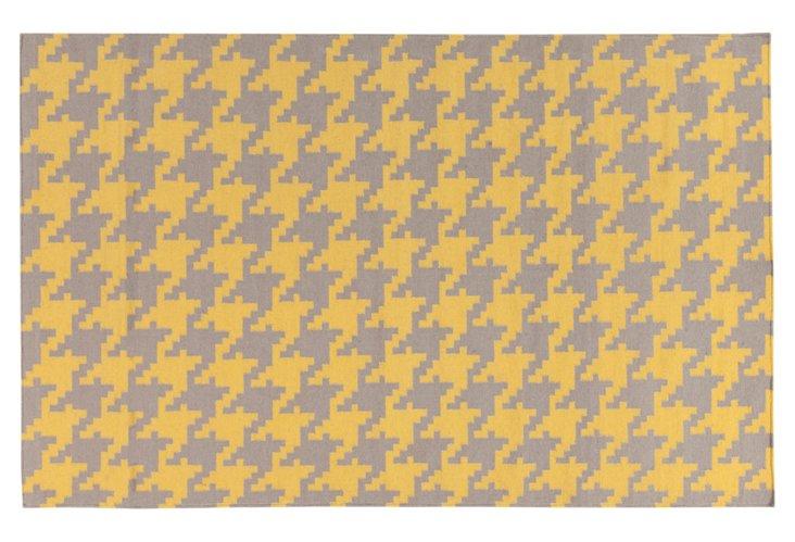 Ann Flat-Weave Rug, Butter/Gray