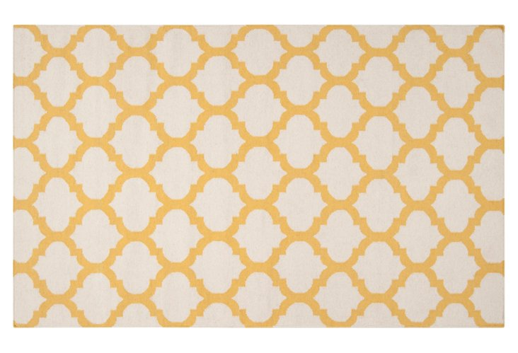 Laurel Flat-Weave Rug, Yellow/Ivory