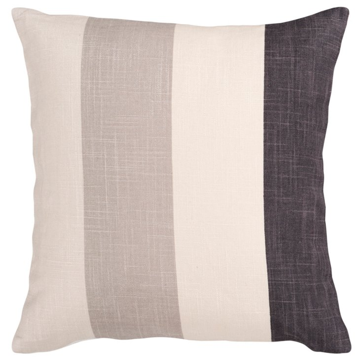 Striped Cotton Pillow, Natural