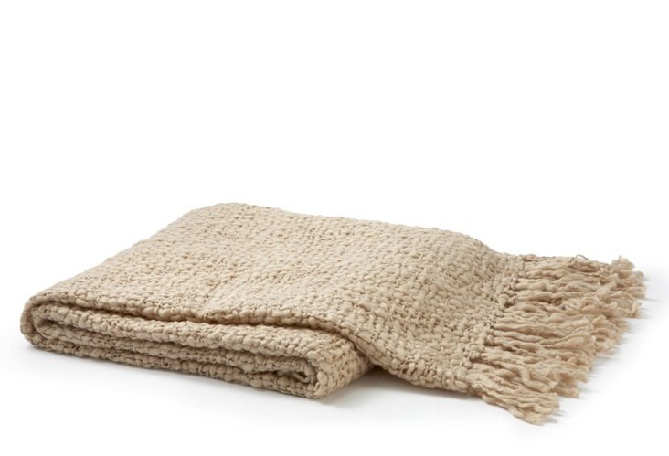 Solid Wool-Blended Weave Throw, Tan
