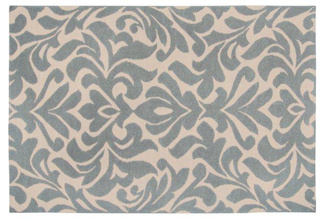 2'x3' Nete Flat-Weave Rug, Slate/Ecru