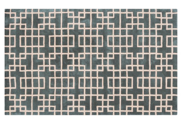 Easton Rug, Slate Blue/Ivory