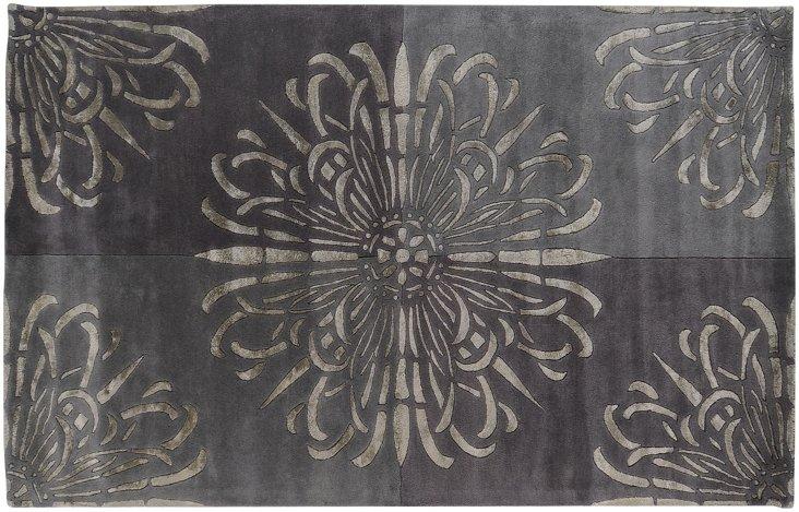 8' Round Darius Rug, Charcoal Gray
