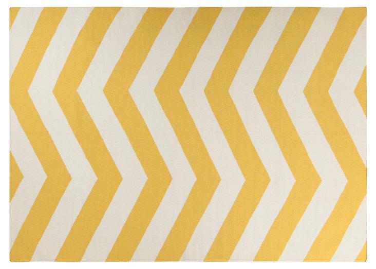 8'x11' Pi Flat-Weave Rug, Yellow