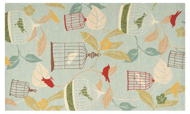 Caged Bird Outdoor Rug, Blue