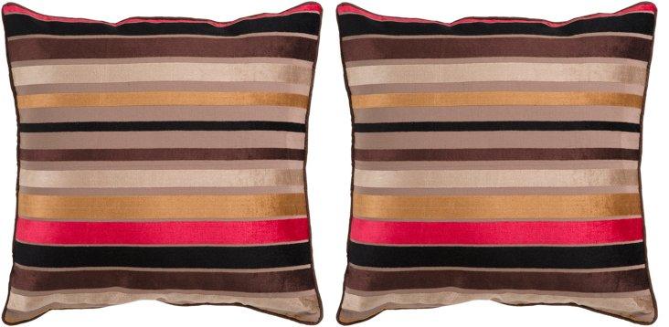 S/2 Stripe Pillows, Brown/Multi