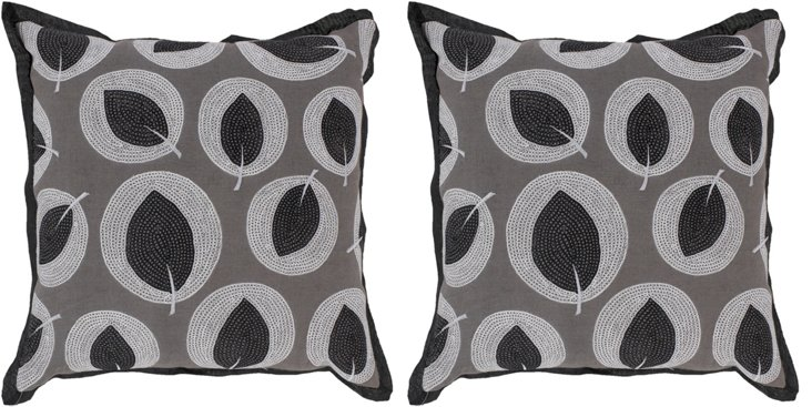 S/2 Leaves 18x18 Pillows, Gray